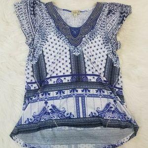 One World Shortsleeve Blue Boho Shirt w Sequins